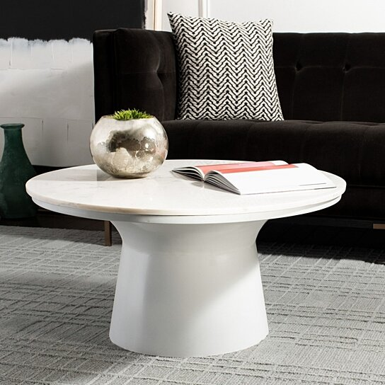 Buy Mila Pedestal Coffee Table White Marble White By