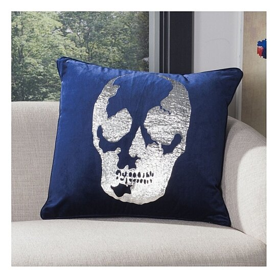 Buy Rayen Skull Pillow Dark Blue Silver By Pacific Home On Dot Bo