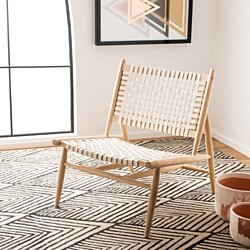 Soleil Leather Woven Accent Chair Natural / White