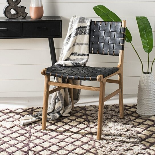 Buy Taika Woven Leather Dining Chairs Black Natural By Pacific Home On Dot Bo