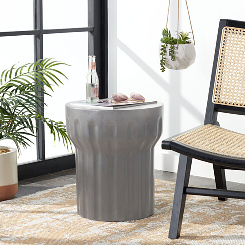 Vesta Modern Concrete Round 15.3-Inch Dia Accent Table Indoor/Outdoor Dark Grey