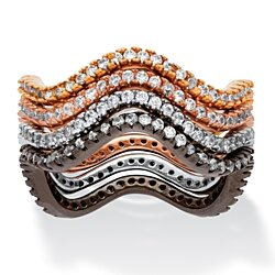 1.12 TCW Four-Piece Set of Wavy Stackable CZ Eternity Bands in Black, Rose, Gold and Silvertone
