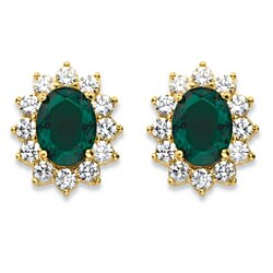 1.14 TCW Oval-Cut Emerald Green Crystal Halo Stud Earrings MADE WITH SWAROVSKI ELEMENTS 14k Gold-Plated