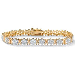 1/4 TCW Round Diamond Flower Tennis Bracelet in 18k Gold over Sterling Silver