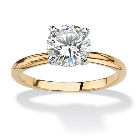 1.88 TCW Round Cubic Zirconia Solitaire Engagement Anniversary Ring in 14k Gold-Plated