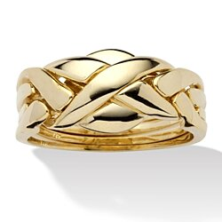 14k Yellow Gold-Plated Interwoven Puzzle Ring