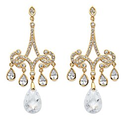 15 TCW Pear-Cut Cubic Zirconia Chandelier Earrings 14k Gold-Plated