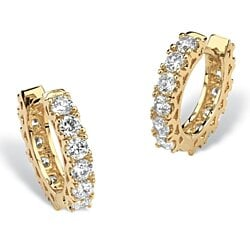 2.40 TCW Round Cubic Zirconia Eternity Huggie-Hoop Earrings 14k Gold-Plated