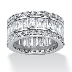 9.34 TCW Cubic Zirconia Platinum-Plated Eternity Band Ring