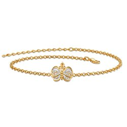 Filigree Butterfly Ankle Bracelet in Tutone 18k Gold-Plated