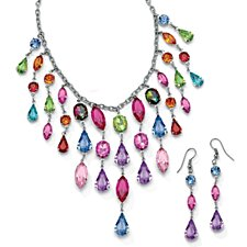 Multicolor Crystal Bib Necklace and Earrings Two-Piece Set in Antiqued Silvertone