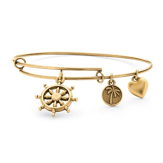 buy wheel of life charm bangle bracelet in antique gold