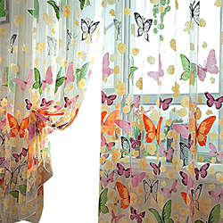 2Pcs Butterfly Panel Scarf Window Curtain Screens Balcony Sheer Valances Home