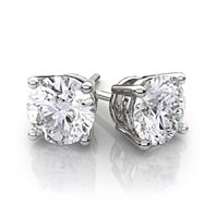 14K White Gold Round 3 CT White Simulated Diamond Earrings VS1