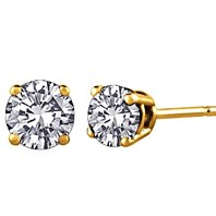 14K Yellow Gold Over Sterling Silver Round Diamond VS1