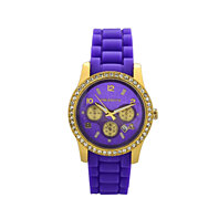 18K Yellow Gold Overlay 1Ct simulated Diamond Purple VS1 Silicone Watch