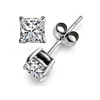 2 Pack 14k White Gold Princess Cut 4ct White Cz Earring