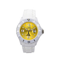 Woman Silicone Quartz Calendar Date White and Yellow Dial Watch
