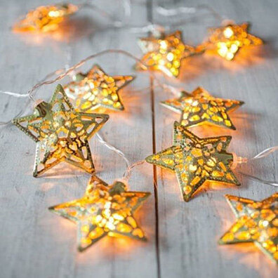 10 LED Silver Metal Star String Light Wedding Party Home Decor Fairy Light Lamp