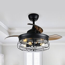 "36"" Industrial Retractable Blades Ceiling Fans With Iron Cage Shade"