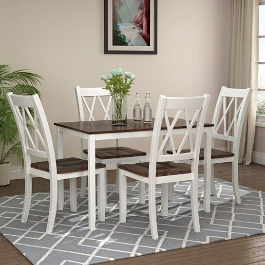 Buy 5-Piece Dining Table Set Home Kitchen Table and Chairs Wood