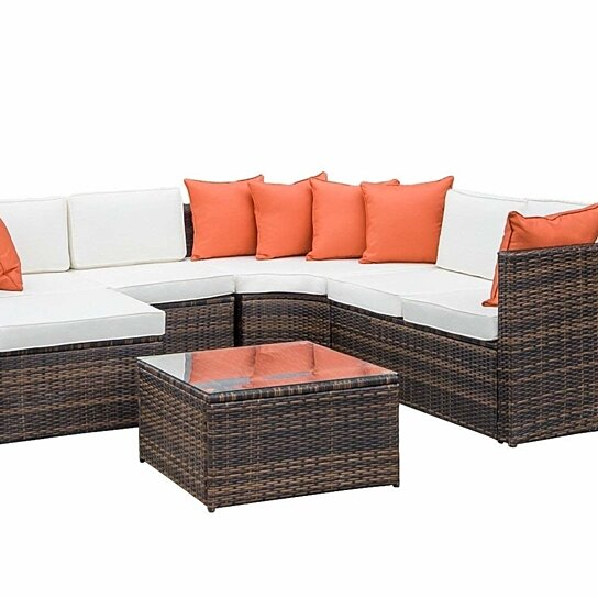 5-Piece Patio Furniture Set Outdoor Sectional Conversation Set with Soft  Cushion