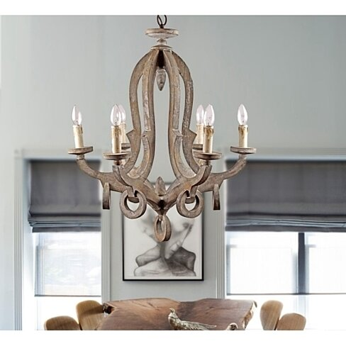 Parrot Uncle Farmhouse 6-Light Callista Chandelier,Antique Wood