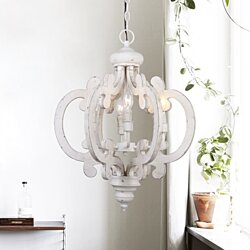 Farmhouse 6-Light Crown Wood Chandelier Pendant Light,Antique White