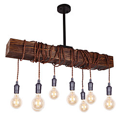 Farmhouse 8-Light Wood Beam Chandelier Pendant Light