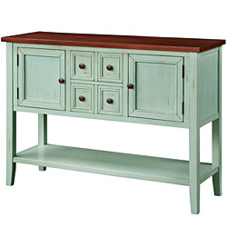 Cambridge Series Buffet Sideboard Console Table with Bottom Shelf (Antique Blue)