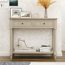 Daisy Series Console Table Traditional Design with Two Drawers and Bottom Shelf Acacia Mangium ,Retro Grey