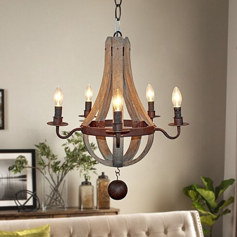 Farmhouse Distressed 5-Light Candle Wooden Chandelier,Antique Wood