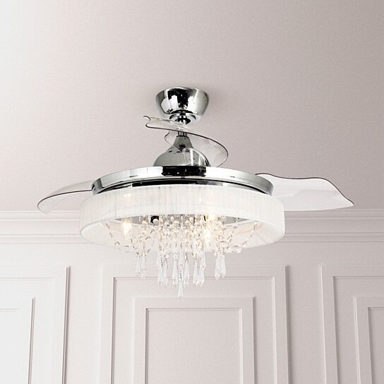 Buy Foldable 3 Blades 42 Inches Crystal Chandelier Led