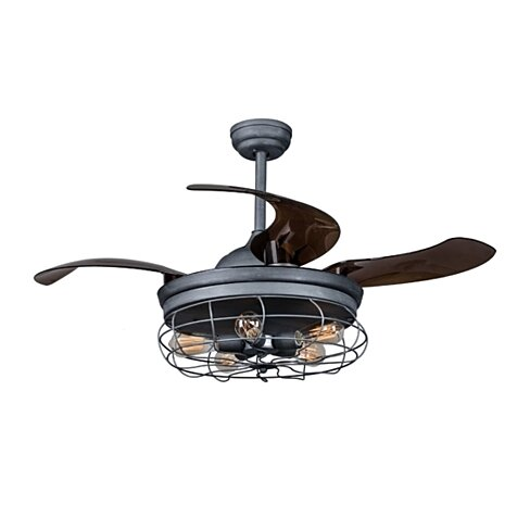 Industrial Ceiling Fan with Retractable Blades and Light, Remote, Antique Gray
