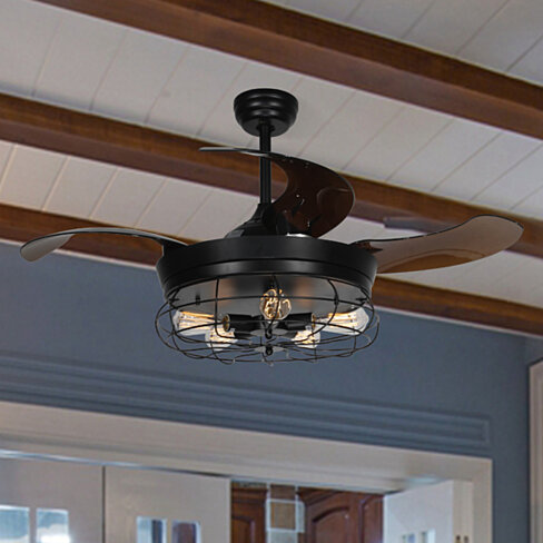 Industrial Ceiling Fans with Retractable Blades, Light and Remote