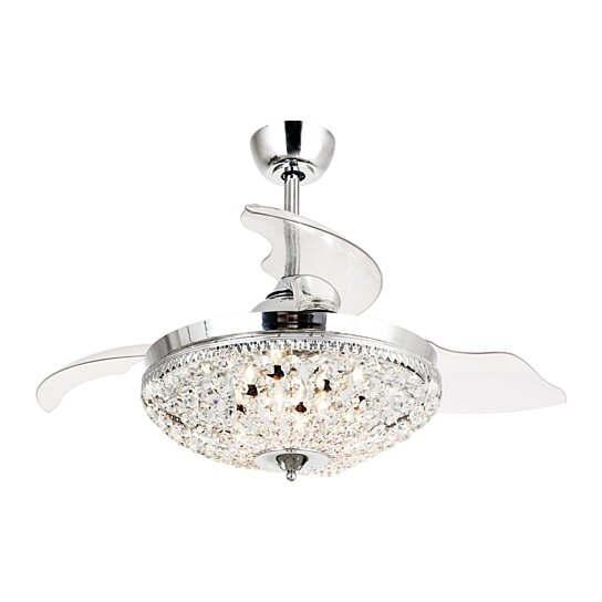 Buy Modern Chrome 42 Inch Crystal Ceiling Fan With Remote 6 Light Chandelier By Parrotuncle On
