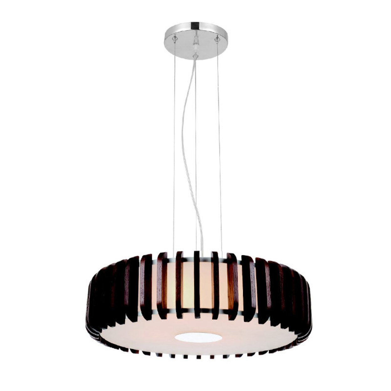 Modern Glass Shade Pendant Light with Nut-Brown Wooden Drum Frame