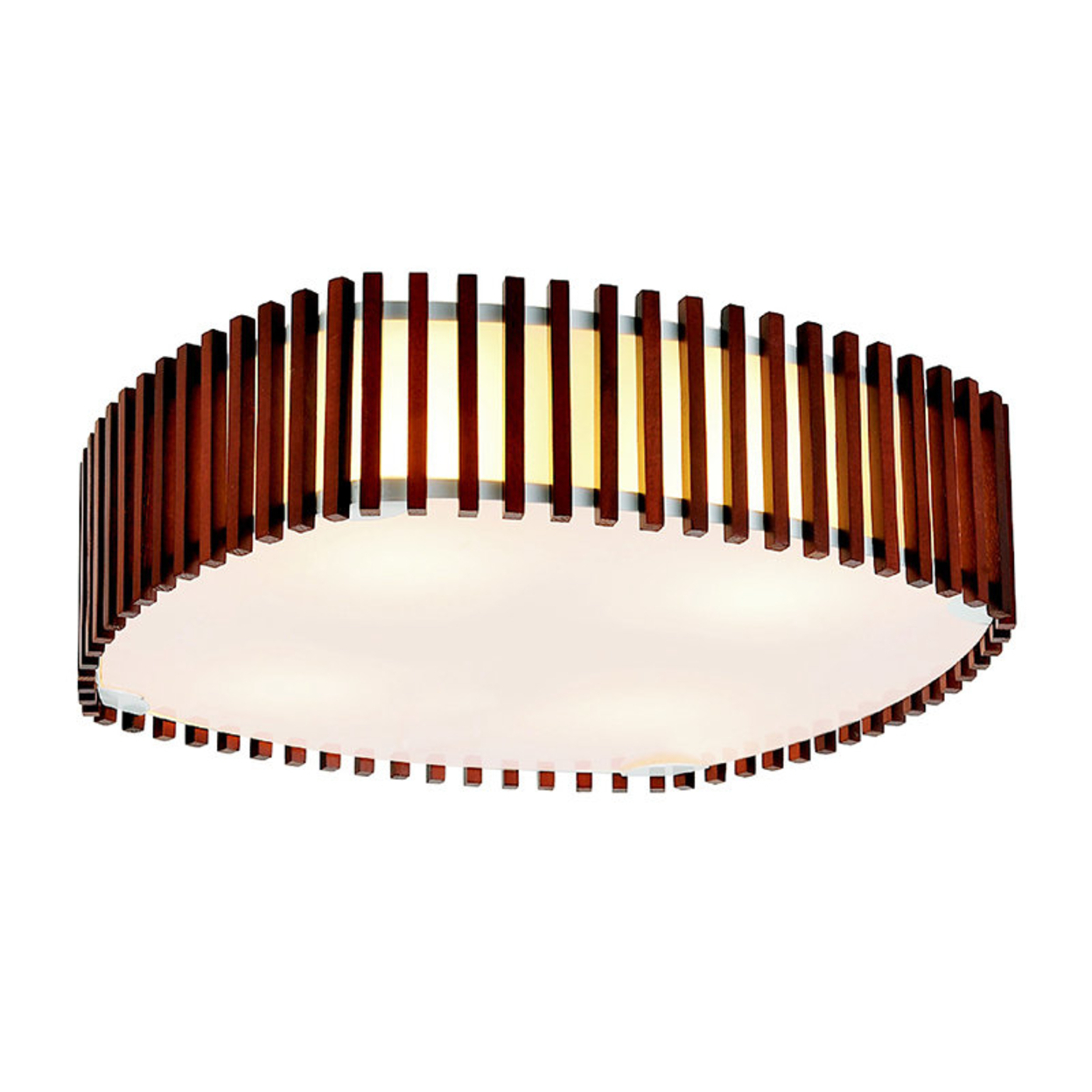 Modern Nut-Brown Flush Mount with Double Shades
