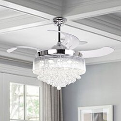 Modern Crystal LED Ceiling Fan With Retractable Blades,Chrome
