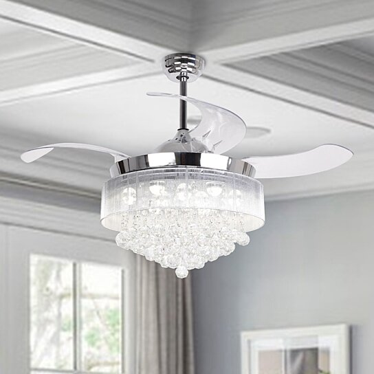 Buy Modern Crystal Led Ceiling Fan With Retractable Blades