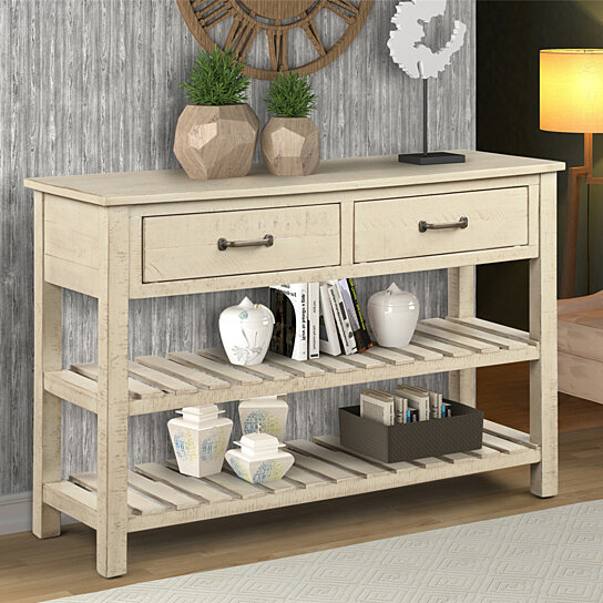 Retro Console Table for Entryway with Drawers and Shelf Living Room  Furniture (Antique Grey)