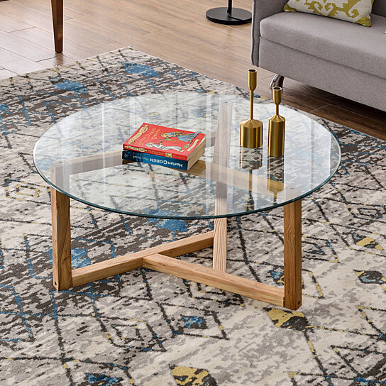 Buy Round Glass Coffee Table Modern Cocktail Table Easy Assembly Sofa Table For Living Room With Tempered Glass Top Sturdy Wood Base Oak By Parrotuncle On Dot Bo