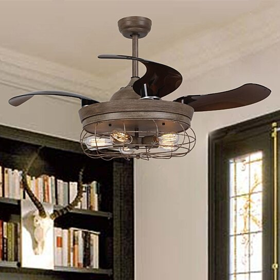 Rustic Ceiling Fan With Foldable Blades Light And Remote By Parrotuncle On Dot Bo