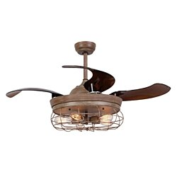 Rustic Ceiling Fan With Foldable Blades, Light and Remote