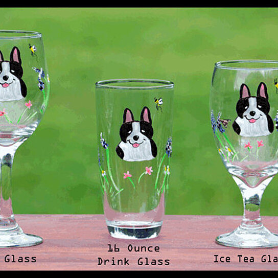 Buy boston terrier handpainted glasses set of 2 iced for Wine and paint boston
