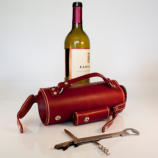 Buy Leather Wine Bottle Holder With Stainless Steel Opener
