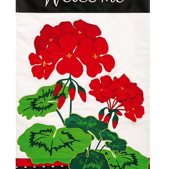 Buy Applique Welcome Geraniums House Flag 29 X 44 Inches