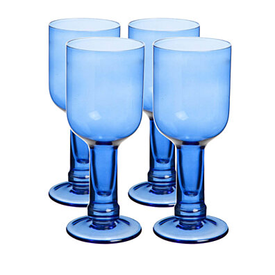 Blue Recycled Glass Bottle Wine Glasses Set of 4