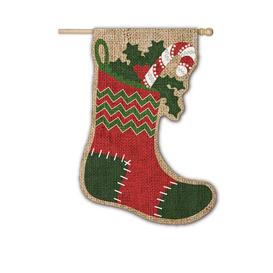 Buy burlap christmas stocking sculpted house flag 29 x 43 inches by