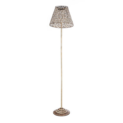 Cape Craftsmen Antique White Leaves Solar Powered Metal Floor Garden Lamp with Stake Attachment